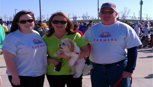 Amie Johnson - <pre>Larry&rsquo;s wife, daughter and two dogs at the March of Dimes walk in 2011.</pre>