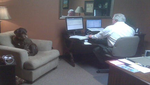 Amie Johnson - <pre>Molly has come to visit Larry at the office, 2012.</pre>