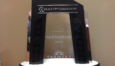 April Schaffroth - <pre>April&rsquo;s Championship Trophy 2013</pre>