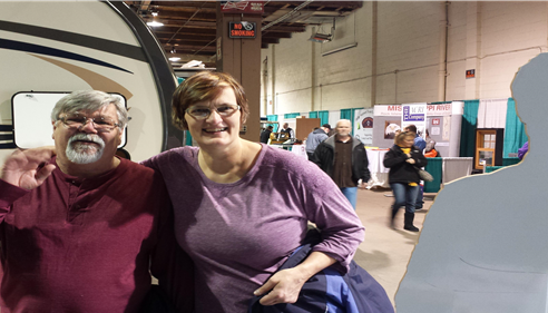 Angela VanderVinne - <pre>A couple of our customers stopped by our booth at the RV/ Campers Show in the QC</pre>