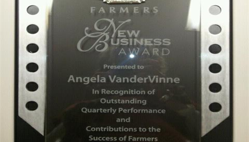 Angela VanderVinne - <pre>2012 New Business Award! Morrison, IL</pre>