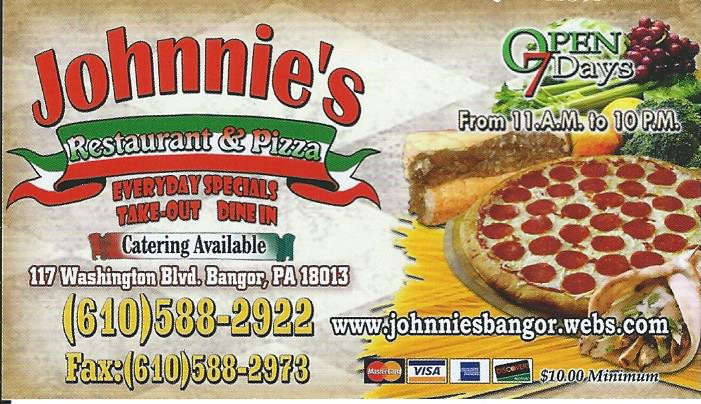 Johnnie's Pizza just outside of Bangor