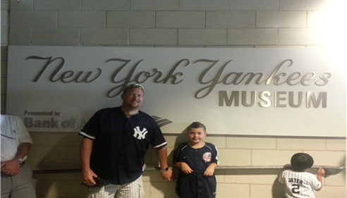 Brian Baker - <pre>My son Tyler and I at the Yankee Museum inside Yankee Stadium.</pre>