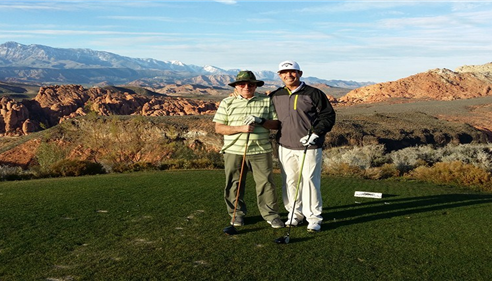 David Cook - <pre>Me and Dad in Utah 2014 working on our handicaps.</pre>