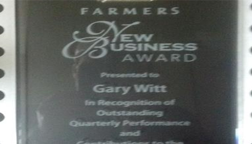 Gary Witt - <pre>Our Farmers® New Business Award presented to Gary Witt</pre>