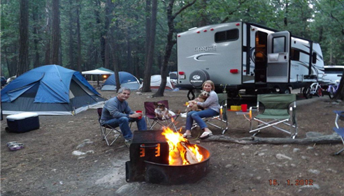 Kristine Avram - <pre>Kris & Nick Avram camping in Julian with their dogs Jean Luc and Molley.</pre>