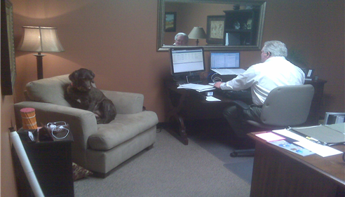 Larry Novak - <pre>Molly has come to visit Larry at the office, 2012.</pre>