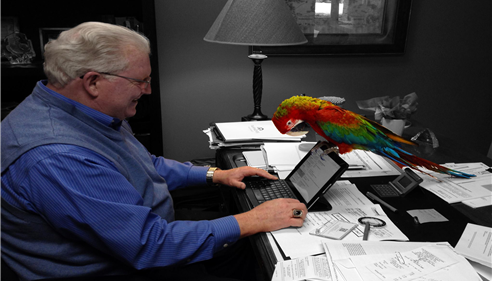 Larry Novak - <pre>Chico scrolls on the touchpad of the Tablet with his beak, Larry & Chico 2014.</pre>