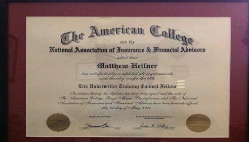 Matthew Heifner - <pre>LUTCF</pre>