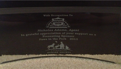 Nick Adamo - <pre>Award for being head sponsor of the Humane society&rsquo;s event The Paws in the Park</pre>