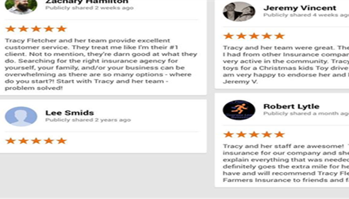 Tracy Fletcher - <pre>A few of our Google Reviews.</pre>
