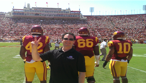Zachary Schneiderman - <pre>Front row for the coin toss with USC captains</pre>